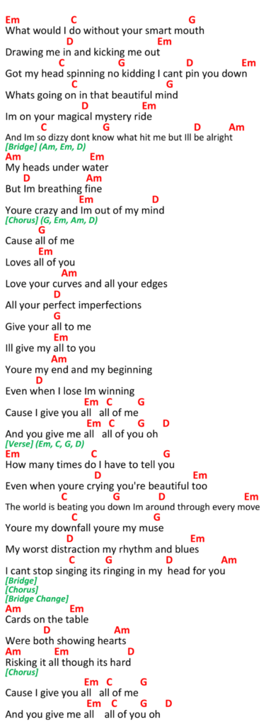 All Of Me Ukulele Chords