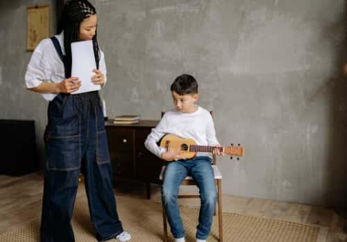 Teaching the child Ukulele