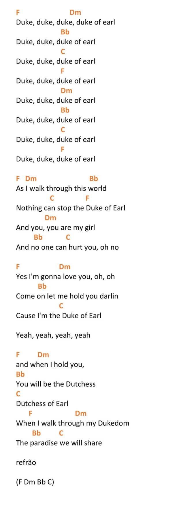 Duke of Earl Ukulele Chords
